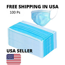 100 PCS Disposable Face Mask Medical Surgical Dental Earloop Anti-Dust 3-Ply USA