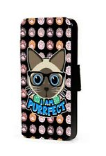 Brown Cat Siamese Phone Case I Am Purrfect Faux Leather Wallet Flip Card Case