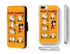Mickey Mouse phone case back cover clip on faux leather flip wallet card case UK