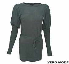 VERO MODA STRICK-KLEID, TOP REEKA LS BOATNECK DRESS PETROL GREEN GR. S,M,L,XL