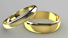 New 9ct Yellow Gold D-Shape Band His & Hers set of Wedding Rings 4mm + 6mm