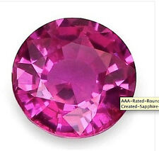 AAA Rated Round Faceted Bright Pink Lab Created Sapphire (1mm to 16mm)