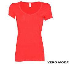 VERO MODA DAMEN SHIRT, TOP, OBERTEIL MAXI MY SS V-NECK GR. S, M, L, XL