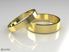 New 9ct Yellow Gold Flat Band His & Hers set of Wedding Rings 4mm + 6mm