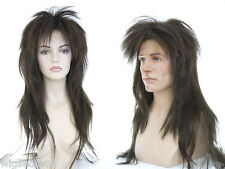 Brunette Straight Punky Extra Long Costume Mens Wigs in Over 30 Colors