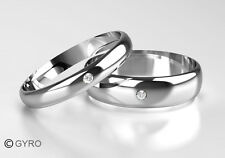 New 9ct White Gold Diamond Set Band His & Hers set of Wedding Rings 3mm + 5mm