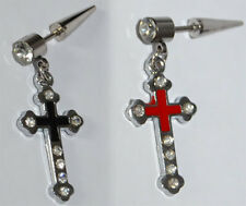 Surgical Steel Cross Pendant 4mm Cheater Taper Ear ring Plugs. Red or Black