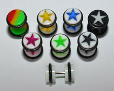 UV 6mm Cheater Fake Ear Plug 7 Great Designs. New!!!