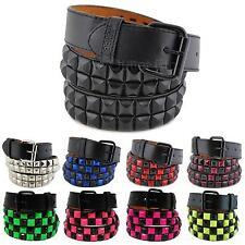 2-Row Big Metal Pyramid Studded Leather Belt Punk Rock Goth Emo Skater Biker