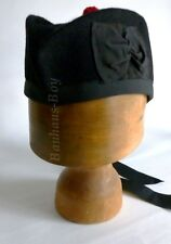 KILT GLENGARRY HAT IN PLAIN BLACK PURE WOOL WITH BLACK BAND ALL SIZES FOR KILTS