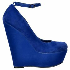LADIES BLUE HIGH HEELS WEDGE PLATFORM SHOES SANDAL ANKLE STRAP EVENING PARTY 3-8