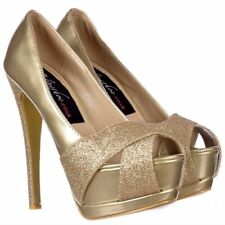 LADIES GOLD METALLIC GLITTER PEEP TOE STILETTO HEELS PLATFORM SHOE PROM PARTY3-8