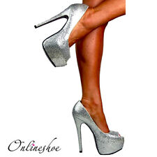 LADIES SPARKLY SILVER GLITTER PEEP TOE STILETTO HEELS SHOES EVENING PARTY 3-8