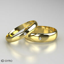 Premium Quality Gold Diamond Set Band His and Hers set of Wedding Rings