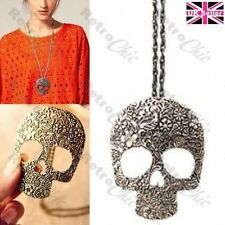 BIG SUGAR SKULL PENDANT long chain NECKLACE antique brass/vintage silver plated