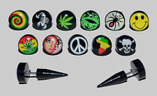 Black Taper Cheater Ear Ring 10mm Stud. Choice of Unique Logo Designs.