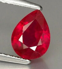 AAA Rated Pear Faceted Bright Red Lab Created Ruby (Size 5x3mm to 25x20mm)