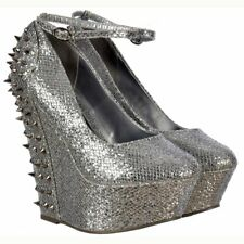 WOMENS SILVER GLITTER STUDDED SPIKE HIGH HEELS WEDGE SHOES ANKLE STRAPPY PARTY