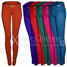 WOMENS LADIES COLOUR BELT SKINNY JEANS DENIM CHINO JEAN SLIM STRETCH FIT TROUSER