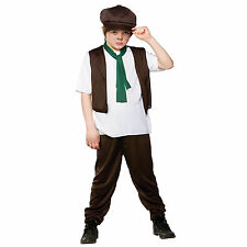 Kids Boys Victorian Poor Boy Peasant Childrens Fancy Dress Halloween Costume New