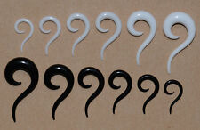 Question Mark ? Curl Ear Ring Stretcher Set of 6. Black or White 3mm  - 10mm. UK