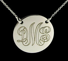 925 STERLING SILVER PERSONALIZED MONOGRAM DISC NECKLACE & CHAIN