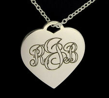 925 STERLING SILVER PERSONALIZED INITIAL HEART NECKLACE & CHAIN