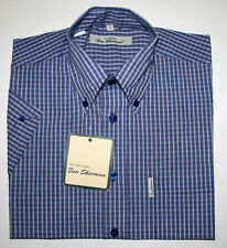 Ben Sherman kurzarm Button Down Hemd regular fit weit geschnitten blau kariert