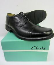 Clarks Mens Hook Cap Black Leather Laced Shoes Fitting (G) Standard