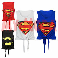 Ladies Women's Girls Super Hero Print Tie Front Cropped Summer Top Tee T-Shirt