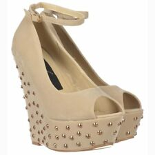 LADIES HIGH HEEL WEDGE PEEP TOE STUDDED SPIKES PLATFORM NUDE BEIGE SUEDE SHOES