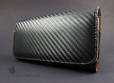 Blk Leather Carbon Fiber LooK Pouch Case Belt Clip Holster Accessory CTC Samsung