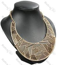 LARGE BIB statement BIG NECKLACE cut-out aztec collar GOLD/SILVER PL pattern
