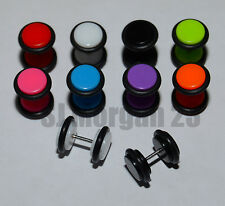 Pair UV 8mm Cheater Ear Ring Plug Stretcher with Rubbers.Choice of Colours. UK