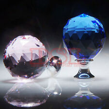 Ball Crystal Glass Door Knobs Handle Drawer Kitchen + Screw Set Multi List UK