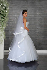 New 2T White / Ivory Wedding Prom Bridal Veil with Wide Edge & Comb
