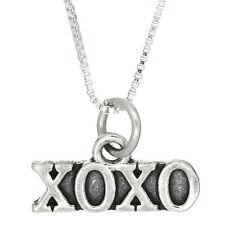 STERLING SILVER XOXO HUGS AND KISSES CHARM WITH BOX CHAIN NECKLACE