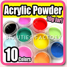 10 COLOURS ACRYLIC CRYSTAL POLYMER POWDER LIQUID GLITTER NAIL ART UV GEL SET KIT