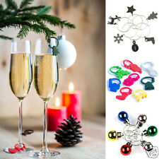 6 CHRISTMAS WINE GLASS CHARMS / MARKERS - SECRET SANTA & STOCKING FILLER 4 SORTS