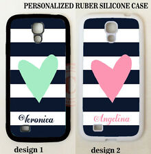 PERSONALIZED NAVY STRIPES PINK MINT HEART MONOGRAM Case For Samsung Galaxy S7 S6