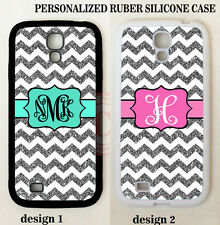 PERSONALIZED W/OUT GLITTERS GREY CHEVRON MONOGRAM Case For Samsung Galaxy S7 S6