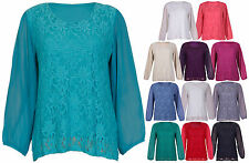 Womens Chiffon Sheer Lace Full Sleeve Ladies Lined Floral Blouse Top Plus Size