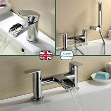 VIRGO WATERFALL BATHROOM TAP BASIN MONO, BATH FILLER & SHOWER MIXER SOLID BRASS