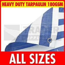 Blue White Stripe Heavy Duty Poly Tarpaulin Market Stall Cover Builders Tarp NEW