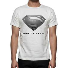 NEW WHITE MEN'S SUPERMAN MAN OF STEEL T-SHIRT, PERSONALISABLE, GIFT
