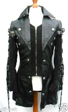 Black GOTH Leather Coat Ladies LAMBS LEATHER Gothic Steampunk Jacket