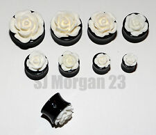 White Rose Ear Ring Stretcher Plug in various sizes 8 10 12 14 16 18 20 22 mm