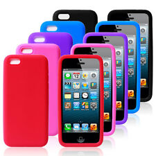 PLAIN SOFT FLEXIBLE SILICONE RUBBER SKIN CASE COVER FOR APPLE IPHONE 5C 4G 5G 5S