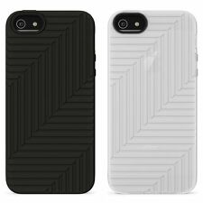 Belkin iPhone 5S 5 & SE Silicone/Rubber Flex Case/Cover/Skin Black/White (Clear)