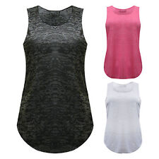 Ladies Womens Sleeveless Burnout Muscle Racer Back Vest Top Plus Size 8 to 22